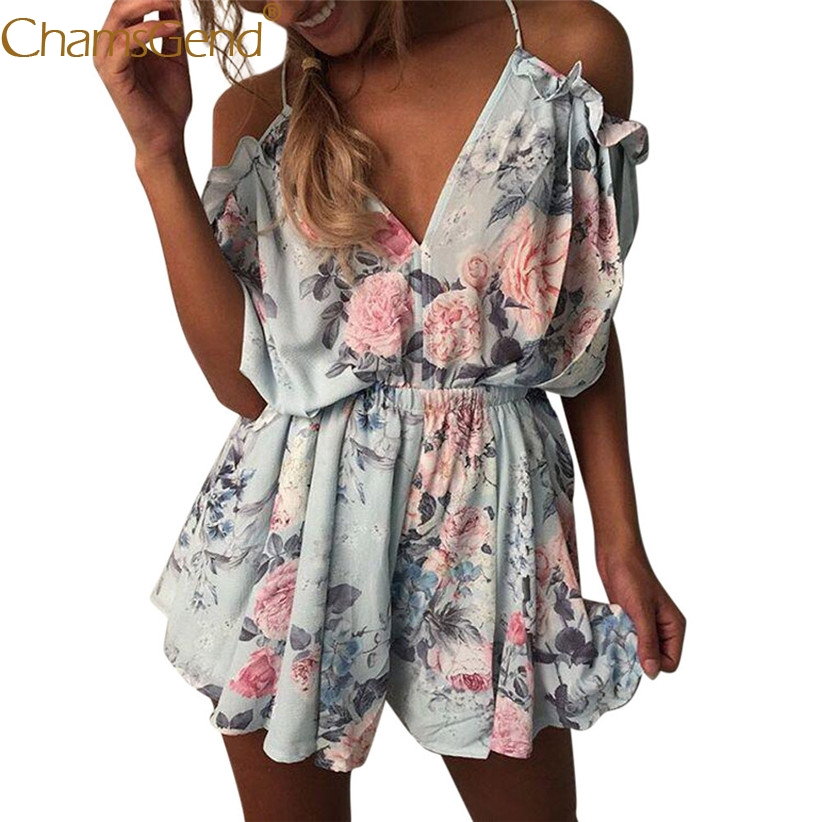 Free Shipping Women Sexy V Neck Floral Print Loose Mini Playsuit Girls Summer Holiday Beach Party   Jumpsuit   80516 Drop Shipping