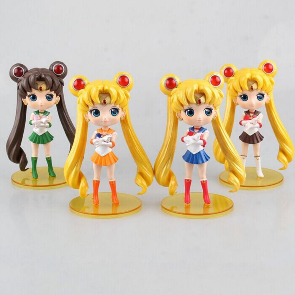 4pcs Set Sailor Moon Figures 20th Anniversary 5.5 Uniform Ver Free Shipping pretyangel genuine bandai sailor moon crystal 20th anniversary gashapon sailor moon wand charm part 1 henshin rod