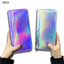 AOEO Hologram Wallet Female Clutch Long Holographic Ladies Bag Girl With Zipper font b Coin b