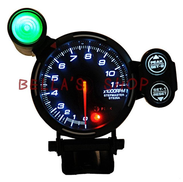 DEF ll  ORIGINAL COLOR BOX 3.75 INCH  RPM WHITE LED SMOKE LENS  0-11000 TACHOMETER REV COUNTER  AUTO RACING GAUGE /METER