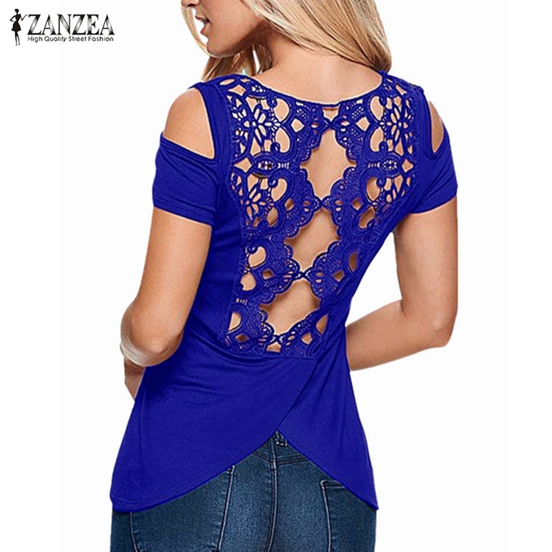 2018 Summer Sexy Women Blusas Vintage Lace Crochet Short Sleeve Hollow Backless Off Shoulder Tee Tops Solid   Blouse     Shirts