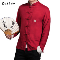 ZAITUN Chinese Traditional Badge Embroidery Men Shirts Linen Cotton Long Sleeve Kung Fu Big Red Plus