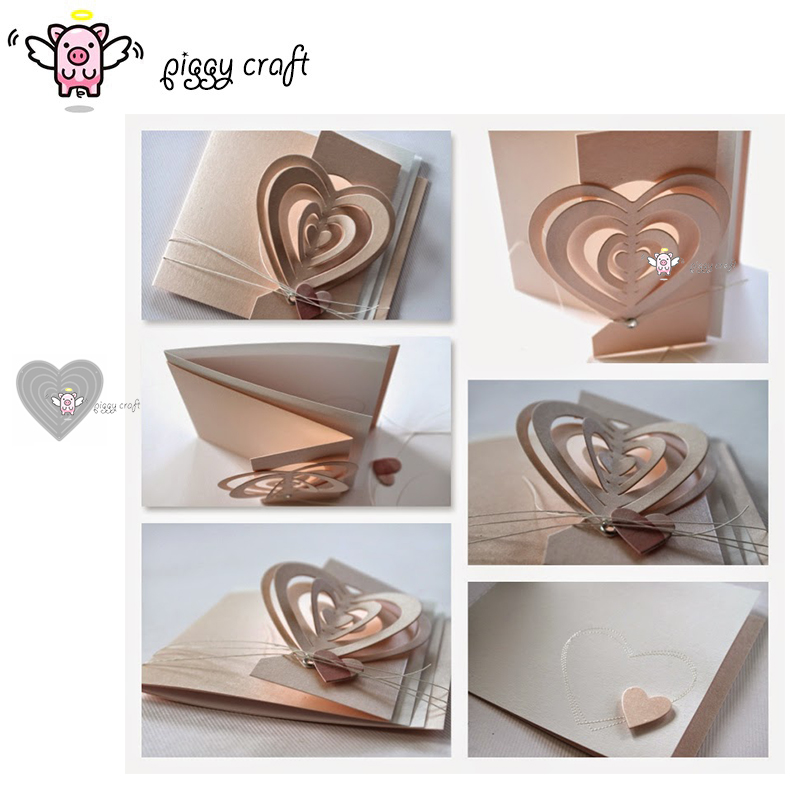 Piggy Craft metal cutting dies cut die mold 3D Love Heart decoration Scrapbook paper craft knife mould blade punch stencils dies-in Cutting Dies from Home & Garden