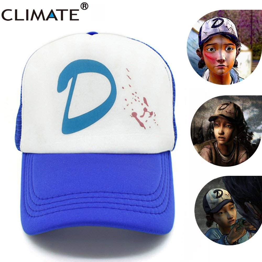 CLIMATE The Walking Dead Game Girl Clementine Clem's Caps Adjustable Women Zombie Killer Summer Cool Trucker Baseball Caps Hats