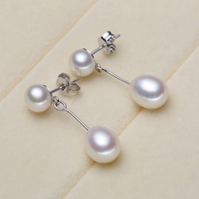 Women Gift word 925 Sterling silver real [beautiful] long pearl earrings natural freshwater pearl earbob shaped drop shipping bo
