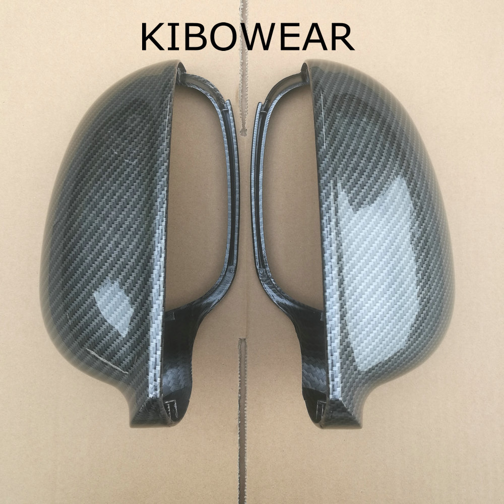 KIBOWEAR For VW Golf MK5 GTI Jetta 5 (Carbon Look) Passat B6 B5.5 Side Wing Mirror Covers Caps Sharan Golf Plus Variant EOS 2007 wing mirror glass indicator for vw golf 5