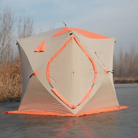 Large space 2 3 people ice fishing tent 300D oxford winter tent automatic speed tent carbon fiber quick open night fishing tent