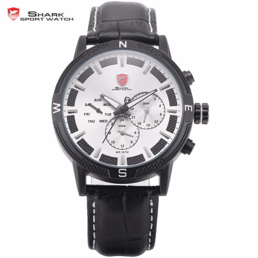 Swell Generation Shark Sports Watch Men Pilot Army White 3 Dial Date Quartz Black Leather Strap Wrist Watches + Gift Box / SH349 pattous mens sports watch black genuine leather chronograph dial date sport quartz watches miyota quartz wrist watch gift box