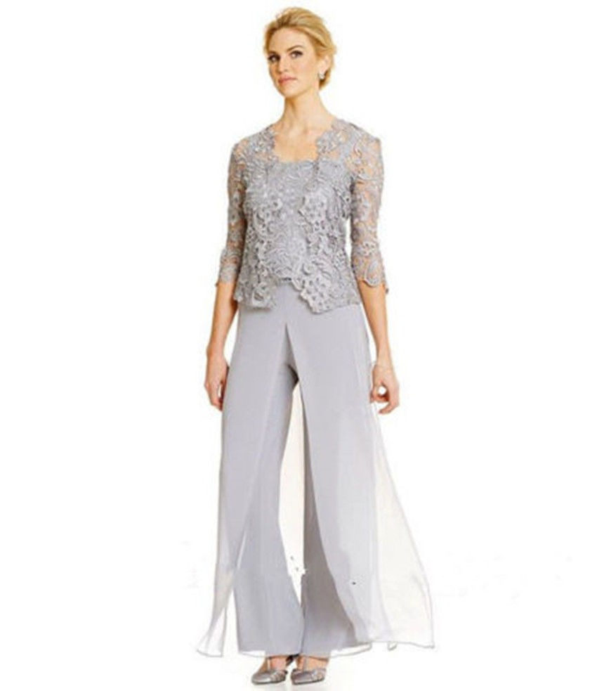 Plus size mother of the bride pant suits with jacket party for Dillards plus size wedding guest dresses