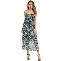 Bohemian Style Beach Dress Women Printing Loose Youth Slim Round Neck Camisole Chiffon Dress High Waist