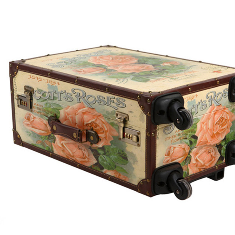 KUNDUI 20 24inch lovely Rose trolley suitcase luggage durable travel case PU Vintage Pull Rod trunk boarding bag Women Girl