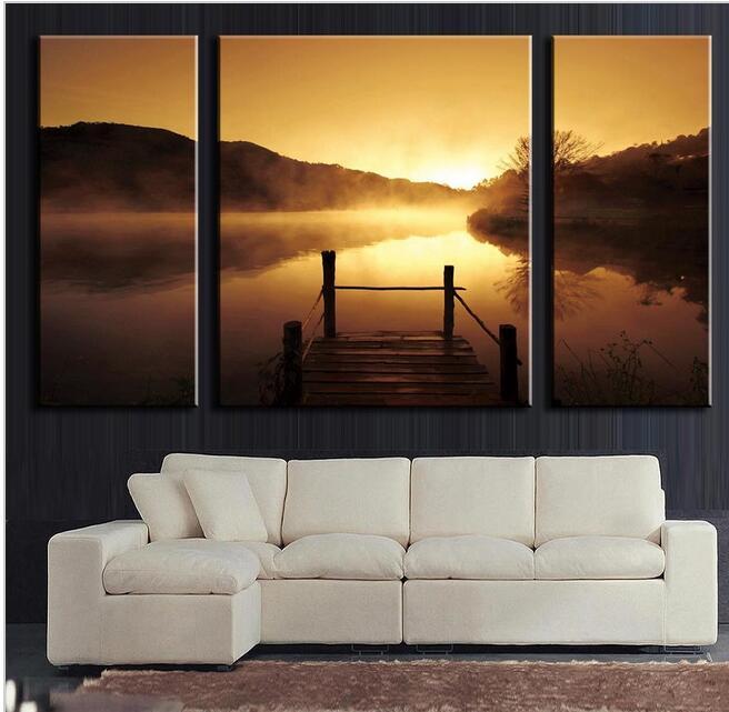 3 Stcke Leinwand Lgemlde Wohnzimmer Dekoration Wandbild Malen Kunst See Bronze GoldChina