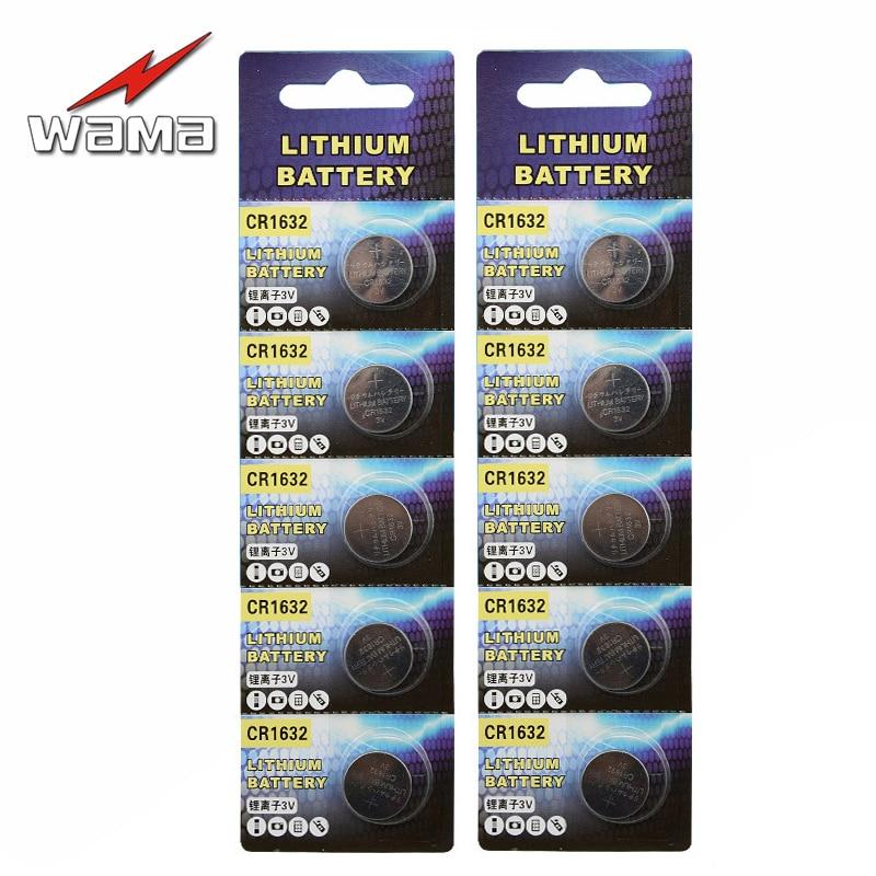 10x Wama CR1632 Coin Batteries LM1632 BR1632 ECR1632 DL1632 Car Remote Control Burglar Alarm Key 3V Lithium Button Cell Battery