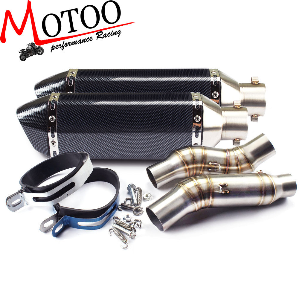 Motoo - Motorcycle Exhaust middle pipe Round Muffler with 2 piece exhaust for Kawasaki Z1000 10-15 Slip-On brand new universal 36 51mm motoo mid pipe exhaust scoote middle motoo exhaust pipe muffler for kawasakininja 1000 honda ktm bmw