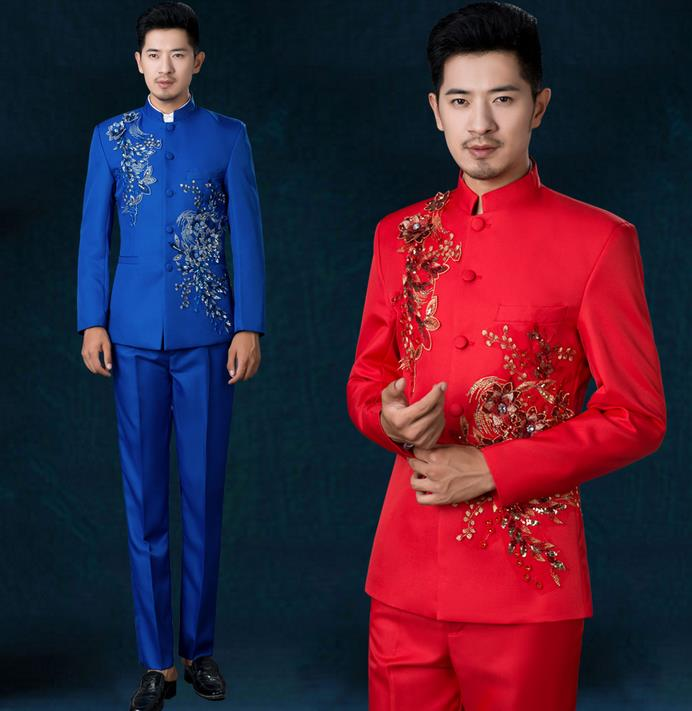 White Black Red Stand Collar Costume Slim Men Chinese Tunic Suit Set Flowers With Pants Mens Suits Wedding Groom Formal Dress In From S Clothing