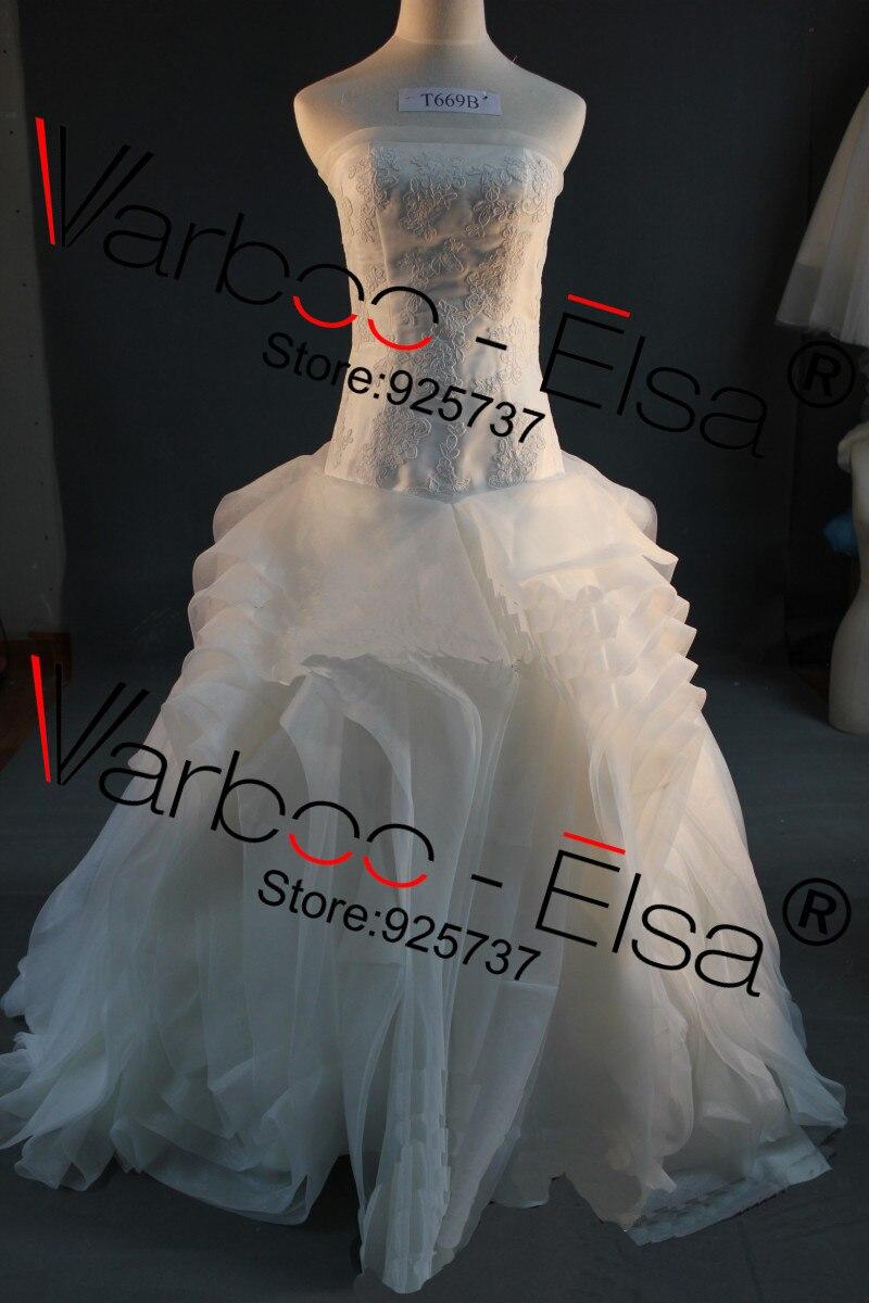 Image 3 - Free shipping Vera off shoulder Fluffy Organza Flower RufflesTop quality bridal Gown plus size Real sample Wedding Dress 2014gown evening dressgown beadeddress wedding gown -