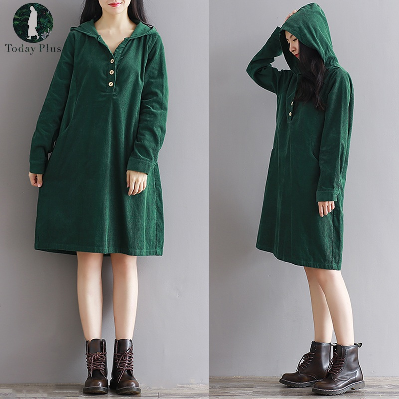 Today Plus 5xl Spring Winter Women Vintage Style Corduroy Hoody Long Sleeve Loose Short Pattern Dress Mori Girl Plus Size Casual