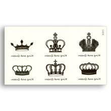 2pcs Crown Water Transfer Fake Tattoo Waterproof Temporary Sticker Men Women Body Art Black King Queen Beauty Sexy Cool Makeup