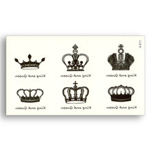 Crown Water Transfer fake tattoo Waterproof Temporary Sticker men women Body Art Black King Queen Beauty sexy Cool makeup(China)