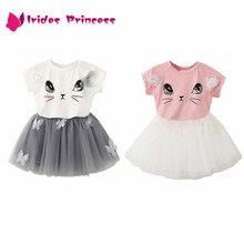 548431462 Vestido niña 2018 verano nuevo estilo Casual de dibujos animados gatito  impreso T-Shirts + velo neto Vestido 2 piezas bebé chica.