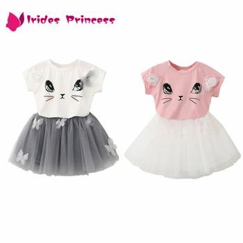 Girl Dress 2018 New Summer Casual Style Cartoon Kitten Printed T-Shirts+Net Veil Dress 2Pcs baby girl clothes 2-6Y conjuntos casuales para niñas