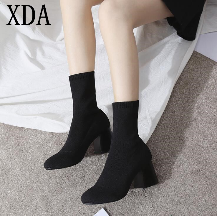 XDA 2018 New Women's Boots Yarn Elastic Ankle Boots Thick Heel High Heel short boots Shoes Woman Female Socks Martin Boots F417 xiuningyan women s boots round toe elastic ankle boots thick heel high heel shoe woman female fashion stretch socks boots winter