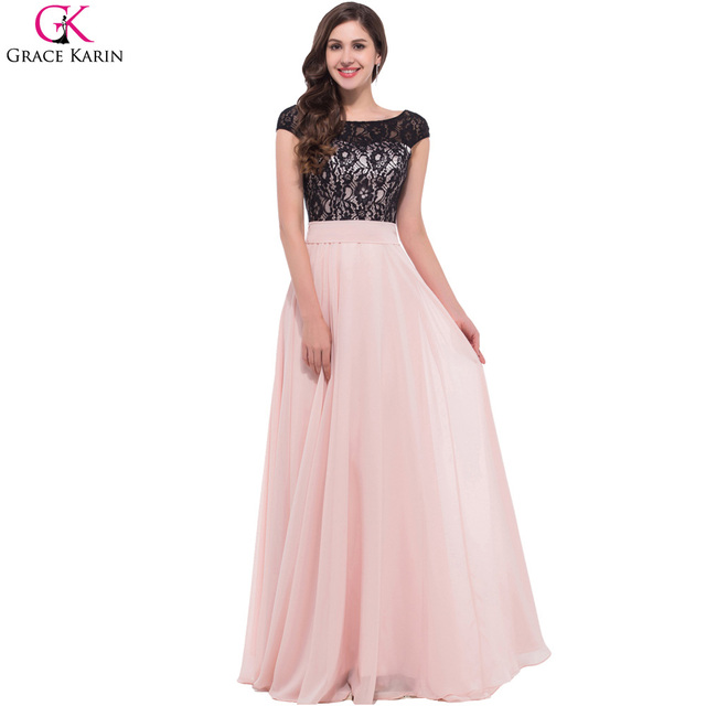 Pink and Black Long Evening Dress