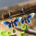925 серебряных ювелирных изделий инкрустированные нефритовые серьги Сукотаи Shaolan Бабочка Серьги Синий Леди Cloisonne