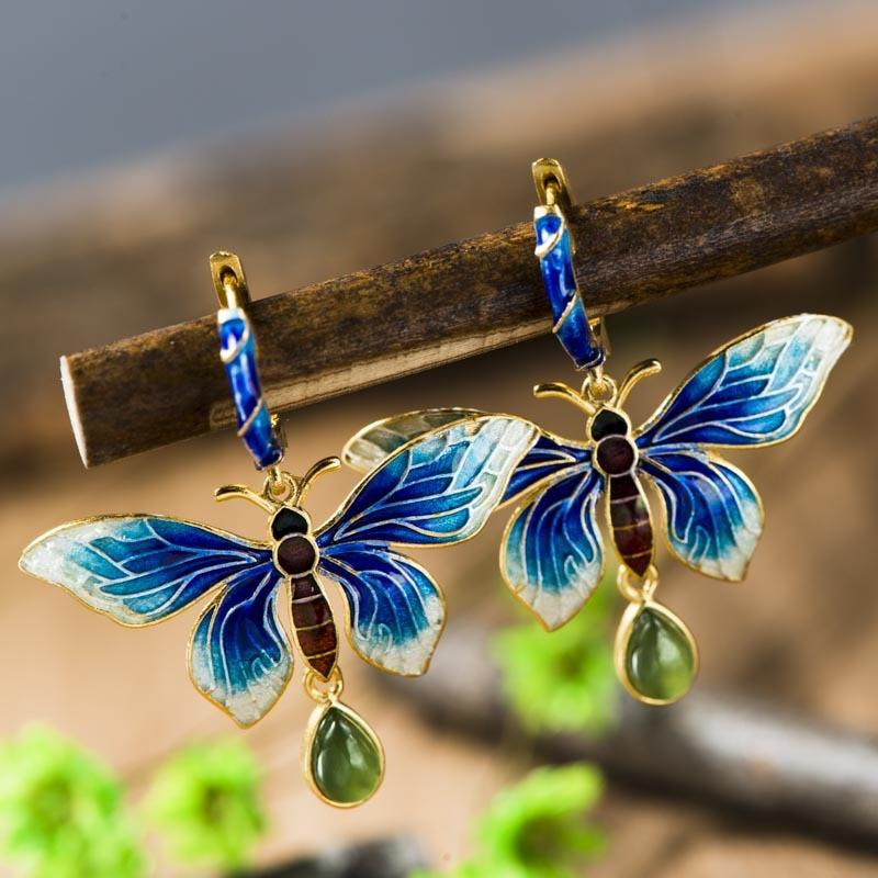 925 silver jewelry inlaid earrings Sukhothai Shaolan Butterfly Earrings Blue Lady Cloisonne