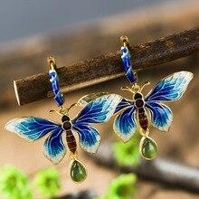 925 joyería de plata con incrustaciones de jade pendientes de Sukhothai Shaolan Mariposa Pendientes de Señora Azul Cloisonne