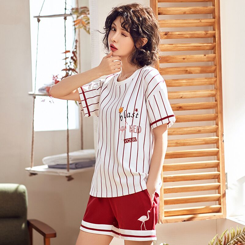 Soft Cotton Women Sleepwear Summer Female   Pajamas     Sets   2019 New laides Suit Short Sleeve Pyjamas Women Nightwear Home Wear