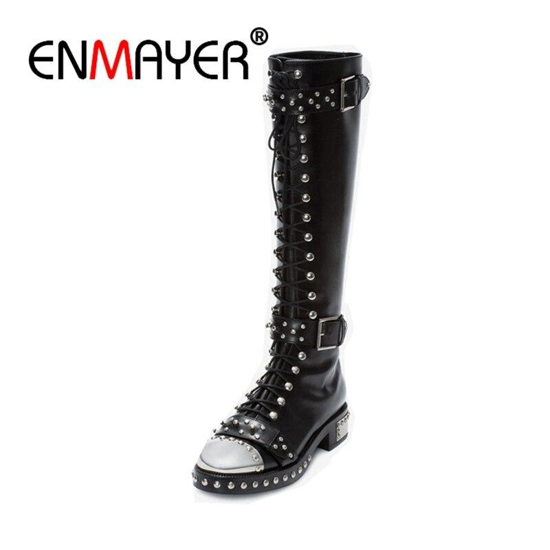 Enmayer Brand Design Echtes Leder Große Größe 34-43 Nieten Punk Martin Stiefel Druck Schnallen Frauen Schuhe Kniehohe Stiefel Cr350