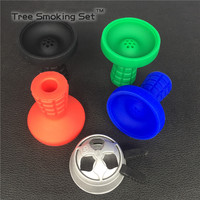 1 PC Large Volume Carbon Metal Charcoal Holder Box Clear Hookah Bowl 1pc Silicone lattice Smoke pot smoke bowl 4 color selection