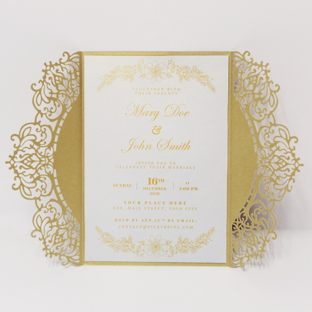 Laser Cut Wedding Invitations Unique Lace Invitation Cards Gold Wedding  Invitation With Envelopes Set of 50 pcs|Cards & Invitations| - AliExpress