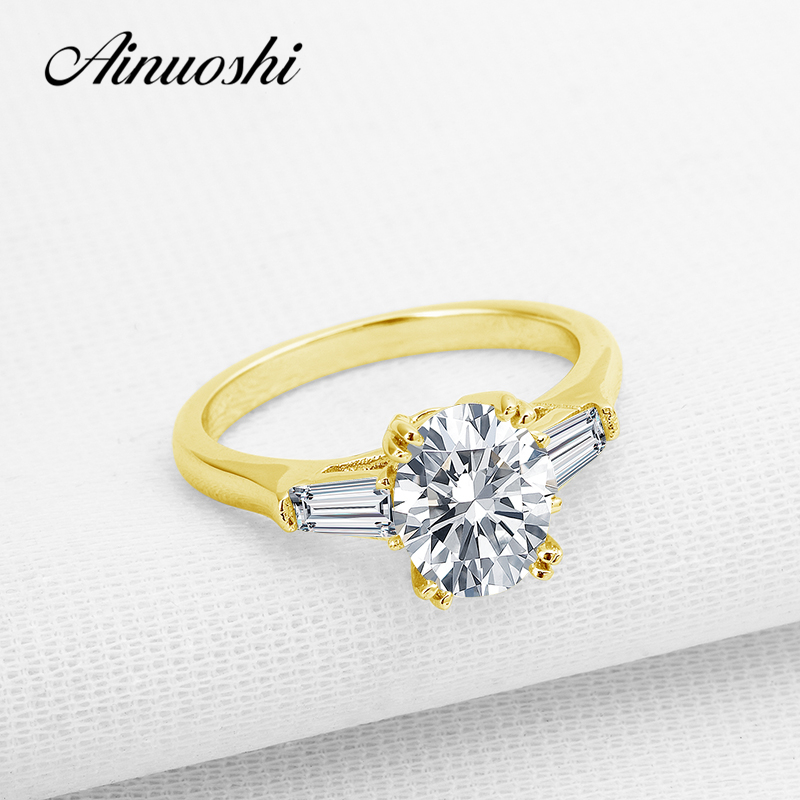 цена AINUOSHI Cute Three Stones Pure Yellow Gold Never Fade Ring 10k Gold Wedding Rings Top Quality Jewelry Oval Cut Engagement Ring