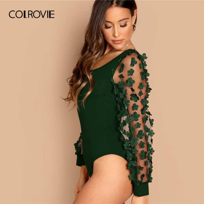 COLROVIE Green, однотонное, с квадратным вырезом, 3D аппликацией, Сетчатое, с длинными рукавами, элегантное боди для женщин 2019, весенние вечерние, офисные женские боди
