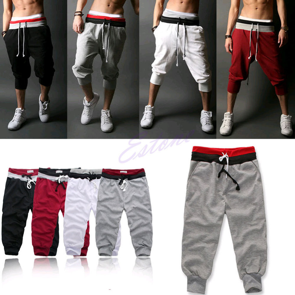 Fashion Mens Baggy Jogger Trousers Shorts Sports W...