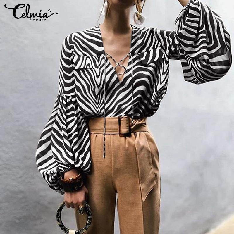 S-5XL Women Tops And Blouses 2019 Celmia Casual Lace Up V-neck Sexy Tunic Shirts Long Sleeve Zebra Printed Work Blusas Femininas