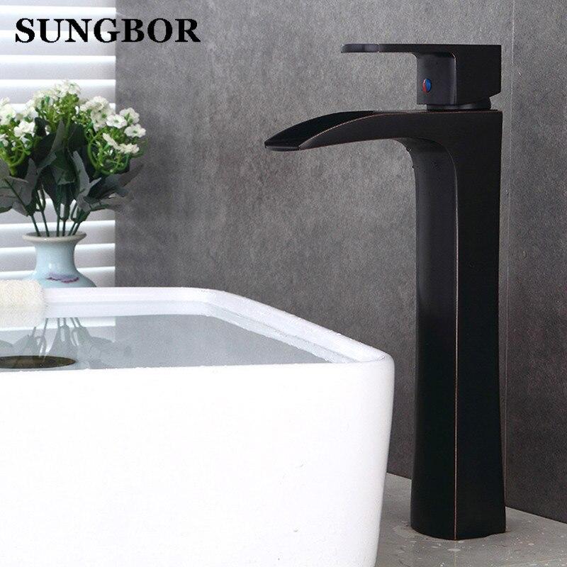Bathroom high waterfall basin faucet tall stand basin mixer black oil brushed basin faucet sink Mixer Tap bathroom faucet 7108H мультиварка polaris pmc 0367ad 500 вт 3 л черный
