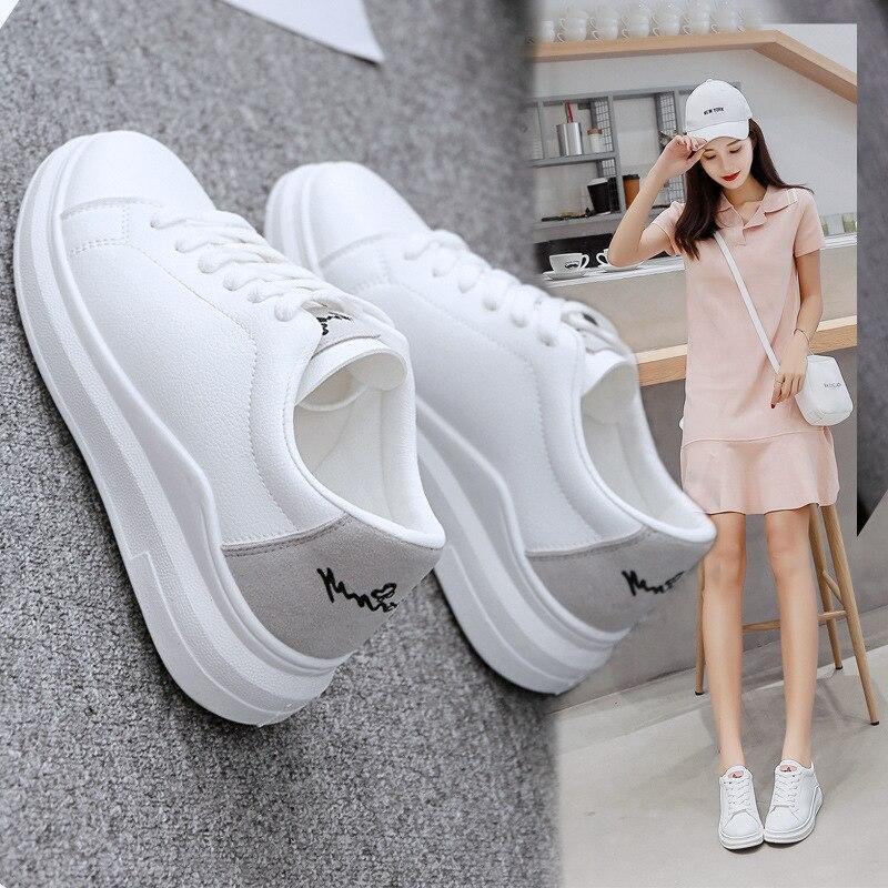 Chaussures gris Plat Chaussures Version 2018 Coréenne Étudiant À Blanc Bleu Sport Sauvage En Semelles De rose Nouvelle Cuir Épaisses Fond Harajuku T80wqHT
