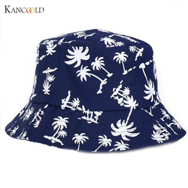 2017 Graffiti Flat Bucket Hat with Coconut Tree Pattern Outdoor Hat  Casquette Gorras Femme drop shipping red white black hats J 70e004f1943