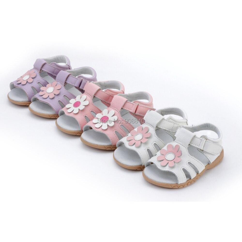 little girls sandals T-strap summer shoes baby gift children shoes toddler nonslip sole white pink daisy flowers handmade stock