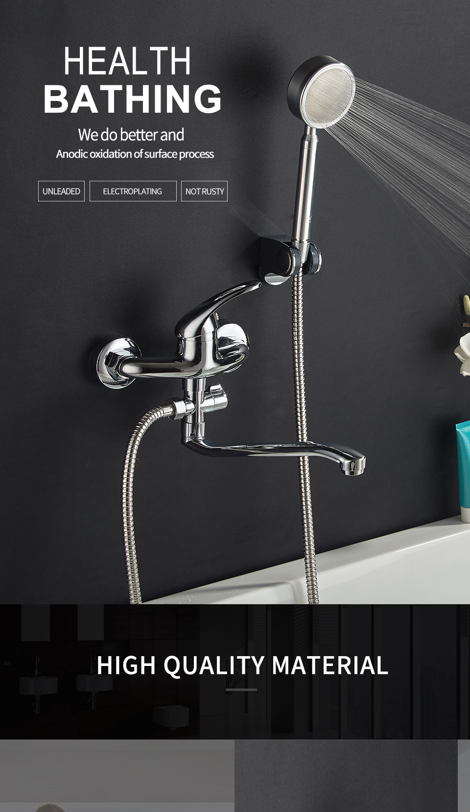 YAOPENG bathroom Shower set faucet cold and hot hand sprink wall ...