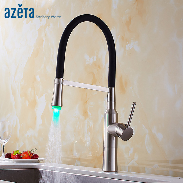 Azeta Pull Down Kitchen Faucet Brushed Nickel Brass Kitchen  LED Faucet With Black Rubber Design Kitchen Sink Mixer Tap AT9408LDAzeta Pull Down Kitchen Faucet Brushed Nickel Brass Kitchen  LED Faucet With Black Rubber Design Kitchen Sink Mixer Tap AT9408LD