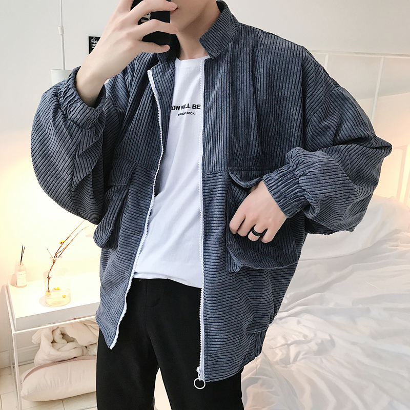 2018 Spring Clothes Solid Color Corduroy Stand Lead Loose Coat Man Easy Edition Jacket city boy casual Favourite Free shipping