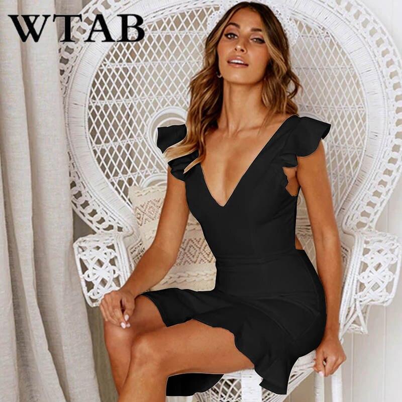 WTAB vestidos летнее платье длиной до колена 2019 Сексуальное Женское Платье с v образным вырезом и открытой спиной bodycon аномалия с оборкой, с высокой посадкой вечернее платье халат