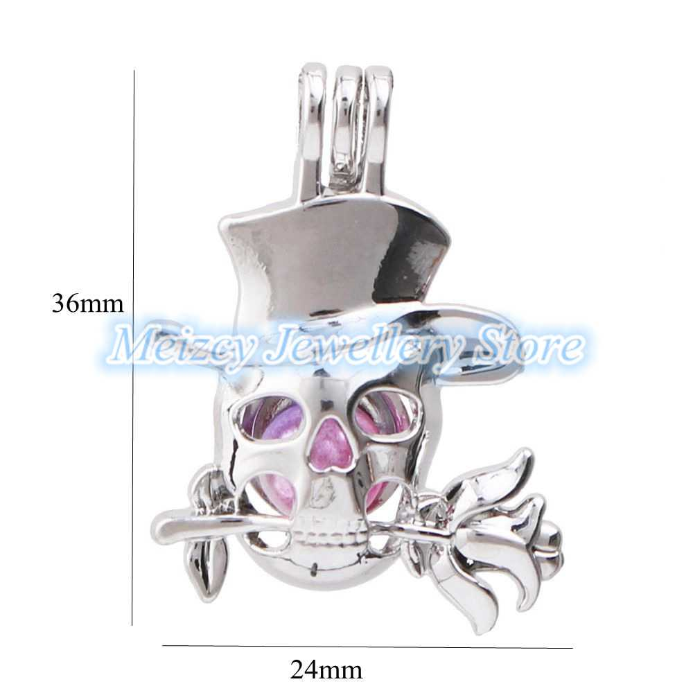1pc Mixed Halloween Ghost Skull Moon Wing Love Pearl Cage Pendant Bead Cage Essential Oil Diffuser Lockets for Oyster Pearls