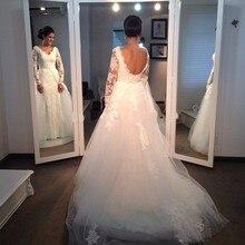Robe De Mariage Nova Chegada do Casamento Do Laço Mangas Compridas Vestido 2017 Sexy White V Neck Tulle Backless Vestidos de Noiva Casamento personalizado(China (Mainland))