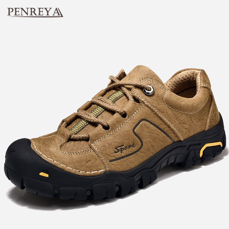 Penreya 2019 Quality Genuine Cow Leather Walking Casual Male Shoes Adult Spring Autumn Work Soft Designer Footwear For Men 50602