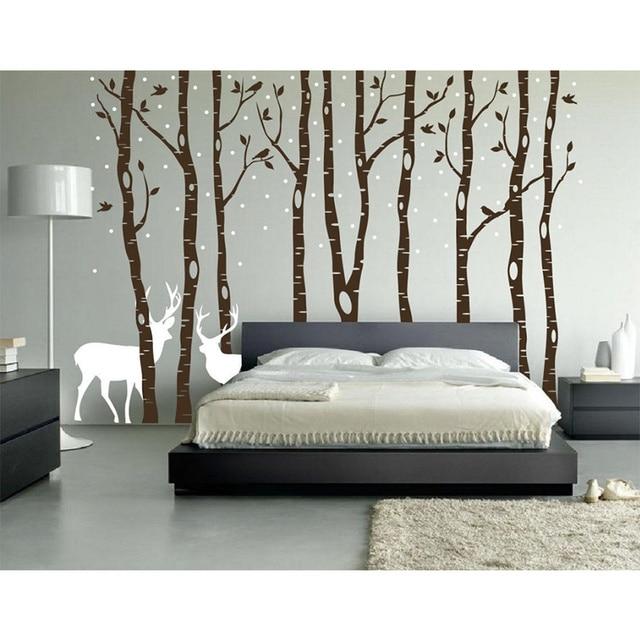 POOMOO Decals Xinda Birch Wall Decals Forest Birds And Deer Vinyl Stickers  Stick Boy Girl Room
